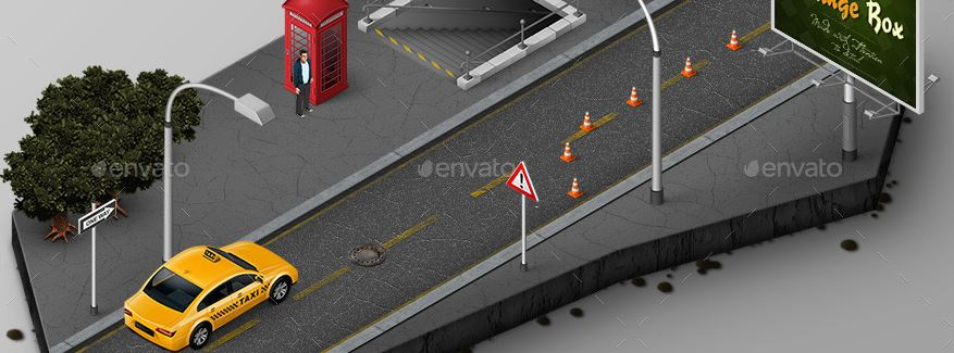 Isometric Map Icons - Cars and Traffic.JPG