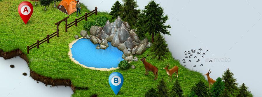 isometric_map_icons_animals_plants_farm